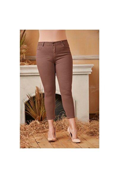 RMG Kadın Vizon Cep Detaylı Büyük Beden Pamuk Pantolon