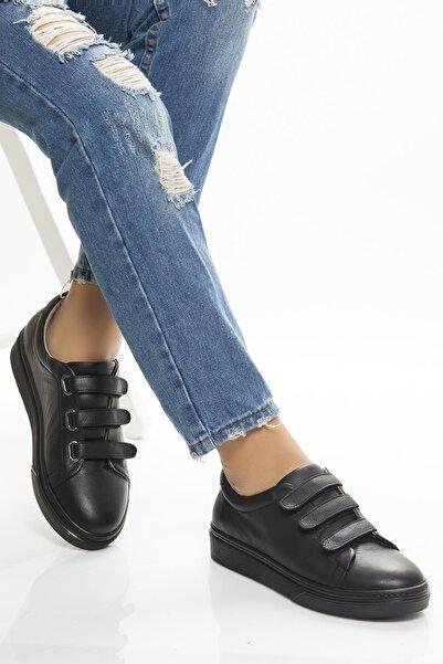 Deripabuc Hakiki Deri Siyah Siyah Kadın Deri Sneaker Trc-0673
