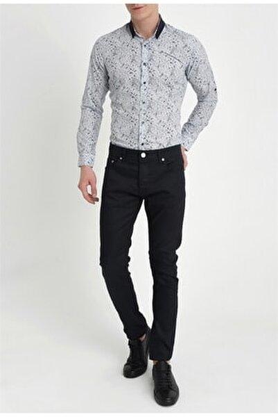 Erkek Lacivert Slim Fit Kanvas Pantolon 036