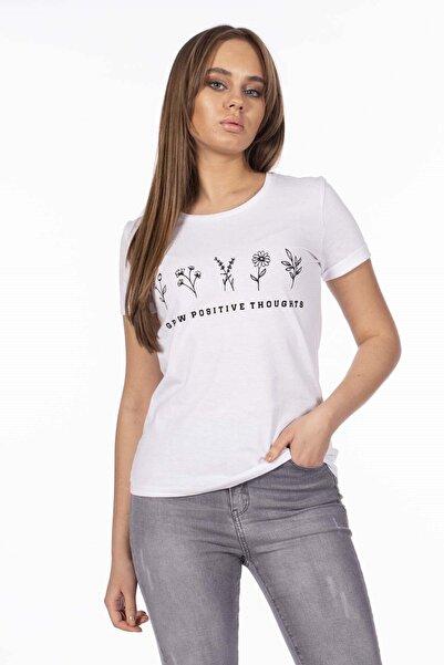 BARRELS AND OIL Kadın Beyaz Basic Çiçek Desenli T-Shirt