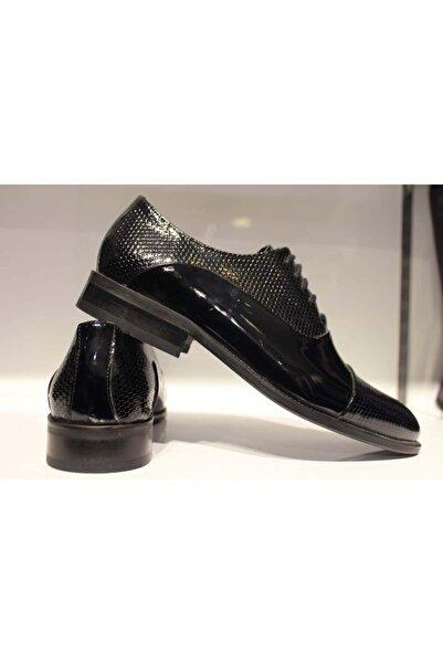 CHERCHİ Erkek Siyah  Rugan  Klasik Ayakkabı