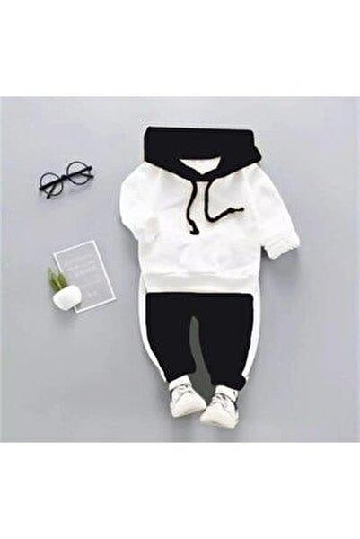 Kapşonlu Siyah Beyaz Bebek Alt Üst Takım