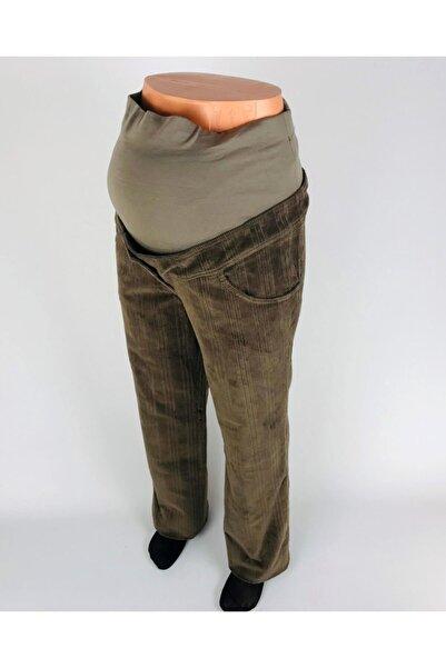 sny Boru Paça Çizgi Desenli Ribanalı Kahverengi Kadife Hamile Pantolon