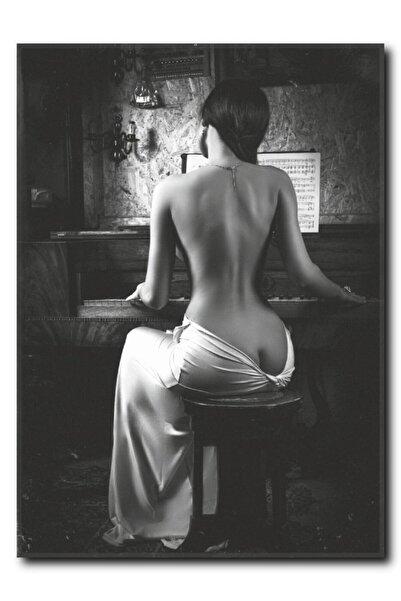 La Vita e Bella Piyano Çalan Kadın Kanvas Tablo Nu-1020
