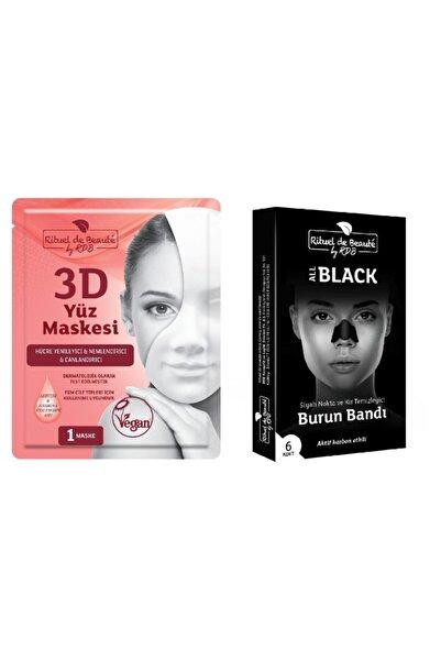 Rituel De Beaute Hücre 3d Yenileyici Ve Canlandırıcı Yüz Maskesi + Aktif Karbon Siyah Nokta Temizleyici Burun Bandı