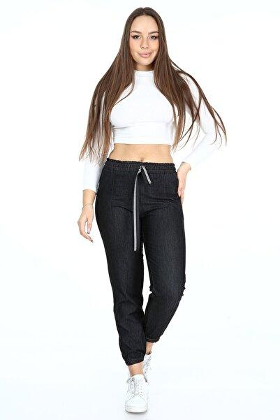 Rodi Jeans Kadın Siyah Paça Lastikli Çımalı Pantolon Ds21kb010712