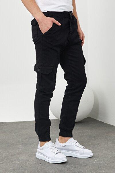 DAMGA JEANS Erkek Riklalı Paçası Lastikli Kargo Cep Pantolon Siyah