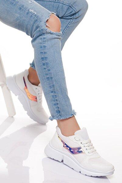derithy Kadın Beyaz Garni Sneaker