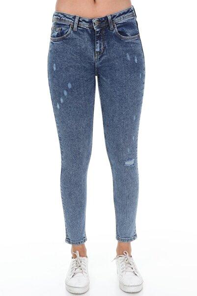 Rodi Jeans Kadın Mavi Destroylu Skinny Jean