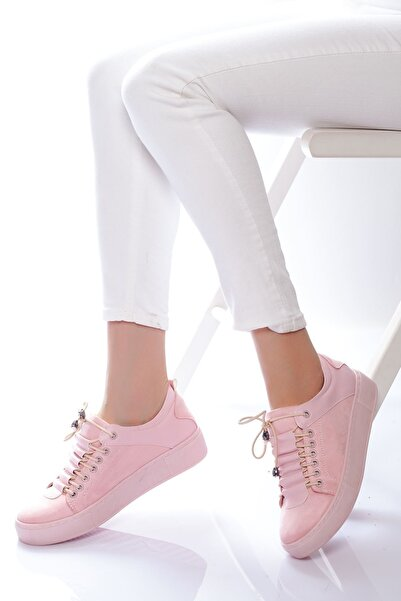 derithy Kadın Pudra Süet Sneaker