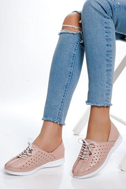 derithy Kadın Pudra Hakiki Deri Sneaker