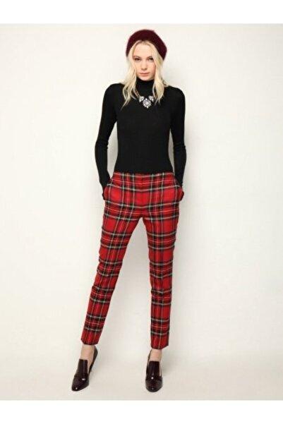 ZAVİRA Kare Desenli Ekoseli Dar Kadın Pantolon Trend Model Primark