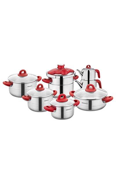 KORKMAZ Hera Kırmızı 14 Parça Çelik Çeyiz Seti A1708-2