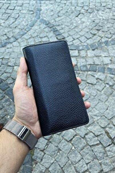 Unisex Siyah Hakik Deri Telefon Sığabilen Premium Tasarım Cüzdan