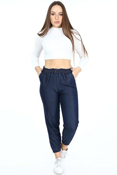 Rodi Jeans Kadın Mavi Paçası Lastikli Çımalı Pantolon Ds21kb010712