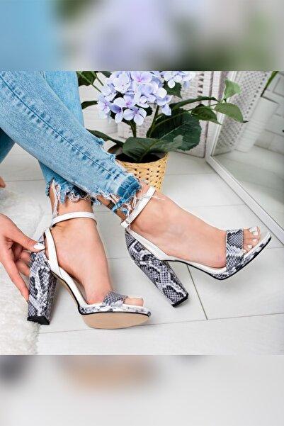 Limoya Kadın Gri Yılan Platformlu Arkası Kapalı Tek Bant Topuklu Ayakkabı