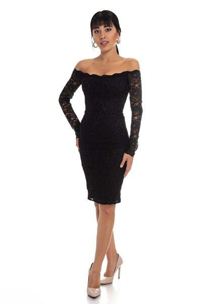 AYHAN Kadın Siyah Uzun Kol Dantel Kısa Elbise 60704