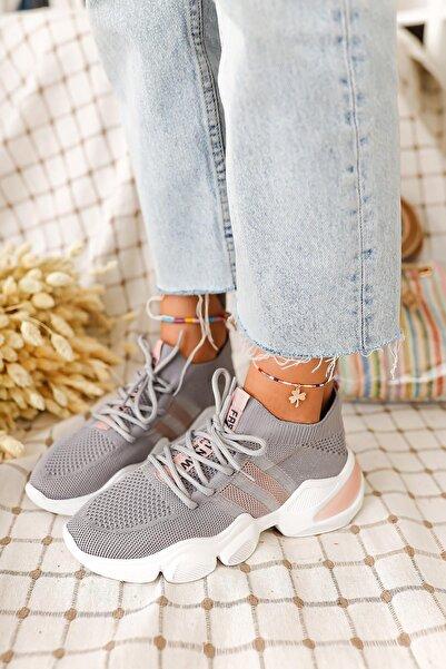 Limoya Kadın Gümüş Marissa Triko Strech Sneaker
