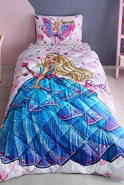 Taç Pembe Barbie Lisanslı Tek Kişilik Yorgan Seti