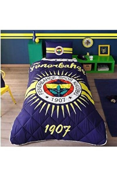 Lacivert Fenerbahçe Tek Kişilik Lisanslı Yorgan Seti