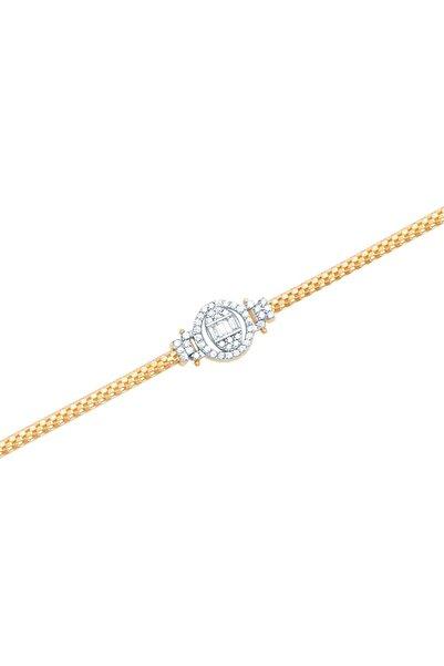 Diamond Line-Gülaylar Sarı Altın 14 Ayar Baget Taşlı Bileklik