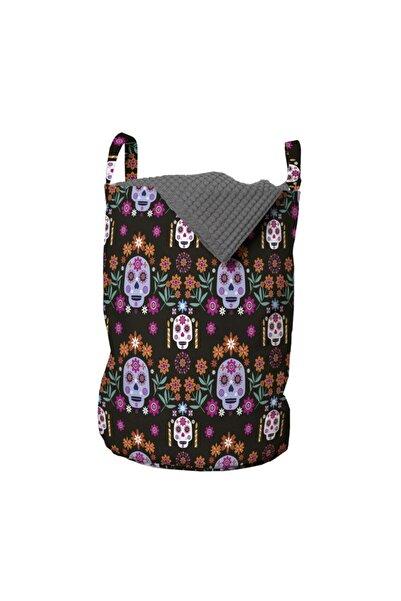 Rengirenk Karanlık Zeminde Çiçek Desenli Kurukafalar Kültürel Çamaşır Sepeti