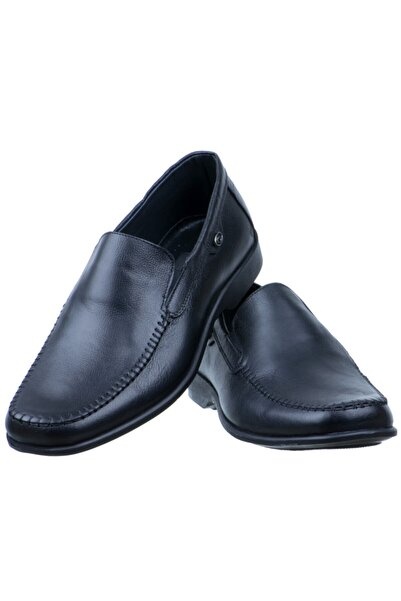 Erdem Erkek Siyah Baskılı Deri Burnu Dikişli Günlük Ayakkabı