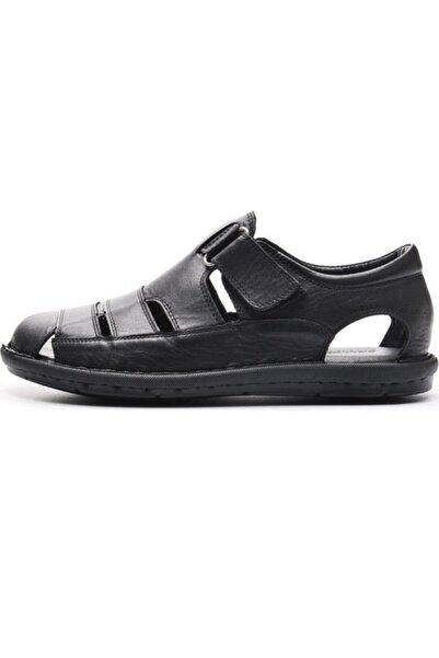 Bulldozer Erkek Siyah Hakiki Deri Sandalet