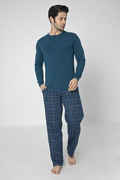 Aydoğan Mavi Pamuklu Modal Uzun Kollu Yeni Yıl Erkek Pijama Takımı