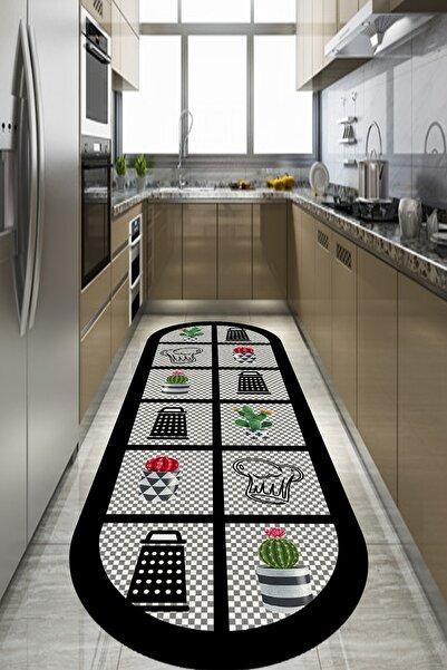 CAPPİO HALI Dama Desenli Oval Mutfak Halısı Makinada Yıkanabilir Kaymaz Deri Taban - Cp398