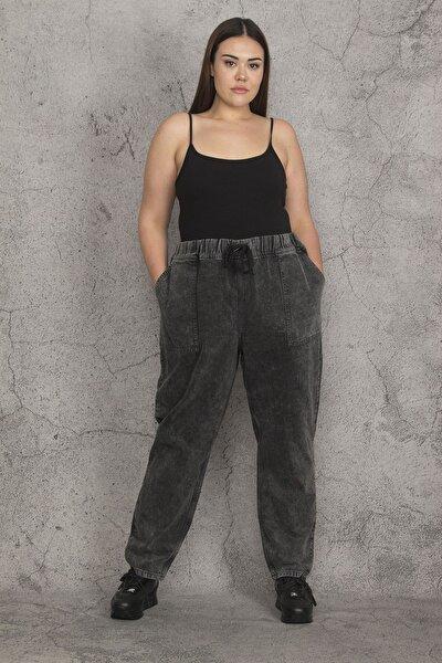 Şans Kadın Antrasit Kar Yıkama Efektli Beli Lastik Ve Bağcık Detaylı Dıştan Cepli Kot Pantolon 65N21983