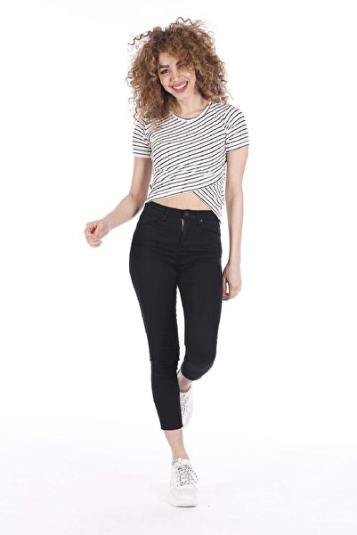 BARRELS AND OIL Kadın Beyaz/Siyah Basic Çizgili Çapraz Kesim T-Shirt 729-20Y13005.55