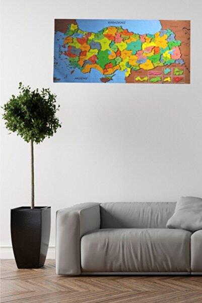 Buffer Renkli Türkiye Haritası Manyetik Yapıştırıcı Gerektirmeyen Duvar Stickerı 118 Cm * 56 Cm