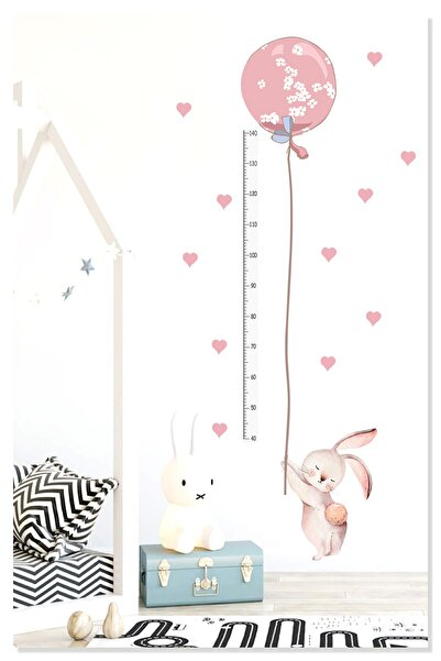 Sticker Sepetim Sevimli Balonlu Pembe Tavşan Boy Ölçer Çocuk Odası Duvar Sticker