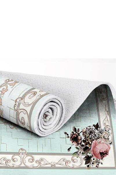 EXCLUSIVE Toprak Dijital Halı Saçaklı Judy Çiçekli Mint Beyaz