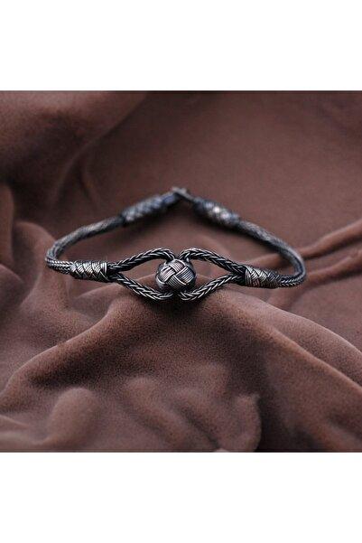 Sümer Telkari Kadın Kazaziye El Sarması Oksitli Gümüş Bileklik  2105