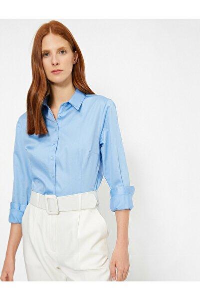 Koton Kadın Mavi Klasik Poplin Gömlek