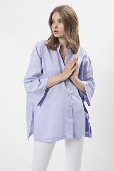 Poplin Oversize Gömlek - Lila