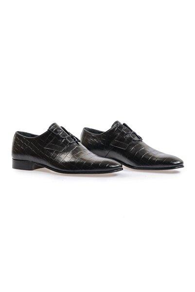 Flower Siyah Bağcıklı Kroko Klasik Ayakkabı
