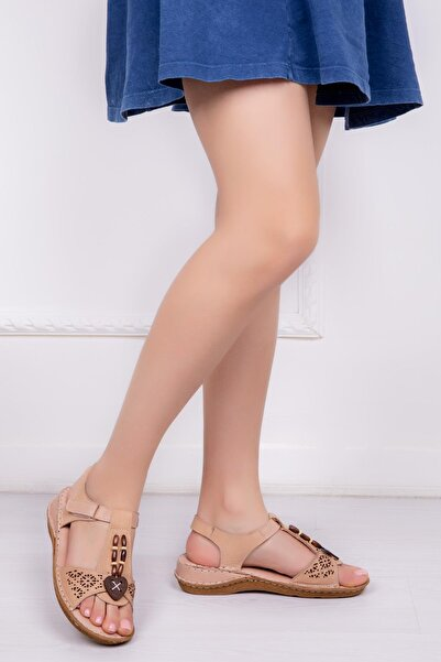Deripabuc Hakiki Deri Bej Kadın Deri Sandalet Dp16-0208