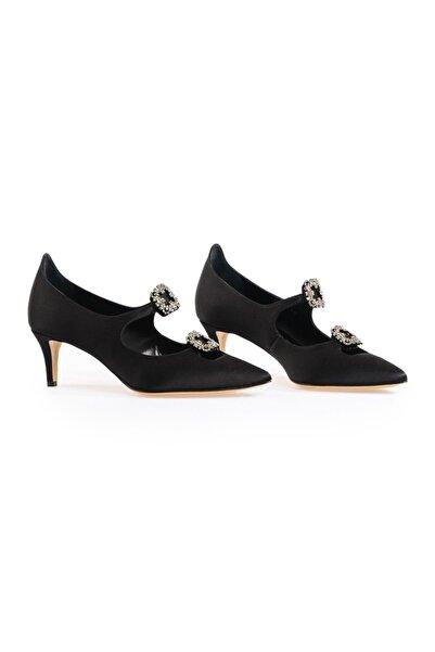 Flower Siyah Çift Tokalı Ayakkabı