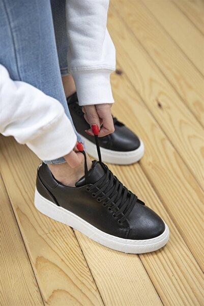 STRASWANS Papel Bayan Deri Spor Ayakkabı Siyah