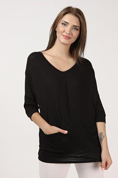 TENA MODA Kadın Siyah Cepli Bluz