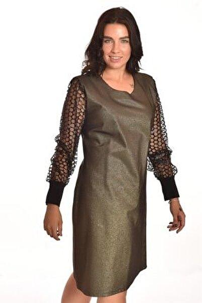 Bakır Tül Detaylı Büyük Beden Elbise Ult3527