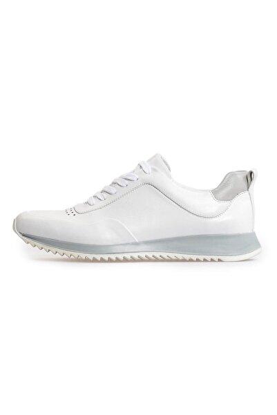 Flower Beyaz Deri Bağcıklı Sneakers