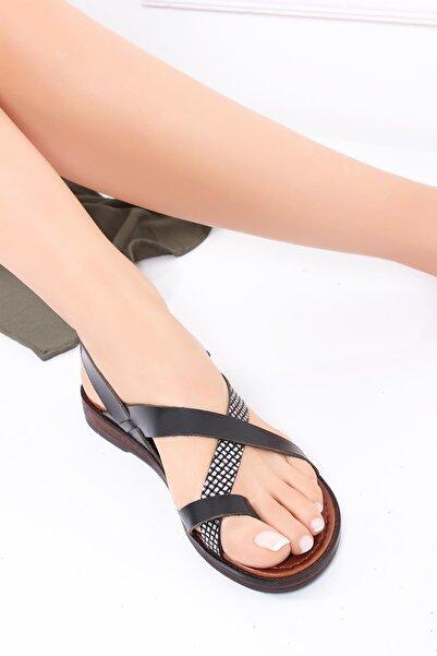 Deripabuc Hakiki Deri Siyah X3 Kadın Deri Sandalet Dp-0074