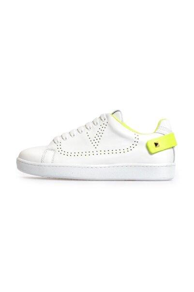 Flower Beyaz Sarı Trok Detaylı Bağcıklı Sneakers