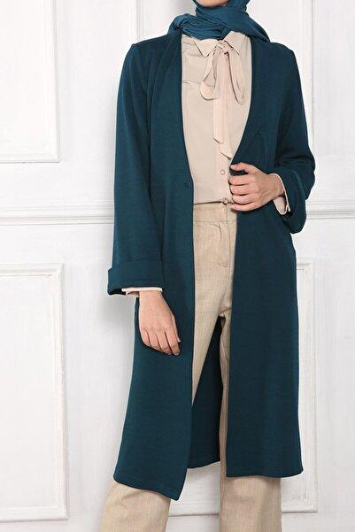 ALLDAY Kadın Yeşil Düğmeli Uzun Ceket