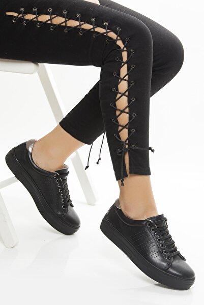 Deripabuc Hakiki Deri Siyah Siyah Kadın Deri Sneaker Trc-0685