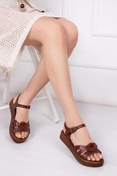 Hakiki Deri Kahverengi Kadın Deri Sandalet DP-1014